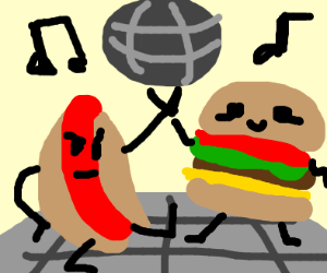 Hot dog and burger at the disco