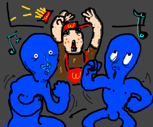 Fast food worker dancing to Im blue da ba..