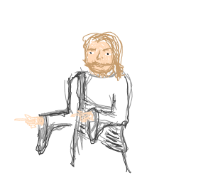 Jesus making finger guns