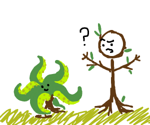 stick figure confused at tentacle bush
