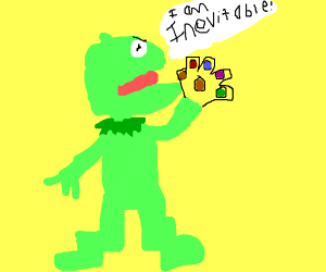 Kermit with the infinity gauntlet