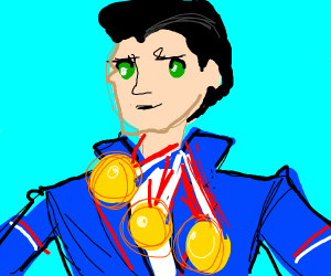 athlete winning 3 gold medals