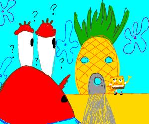 Mr. Crabs confused over SpongeBob's house