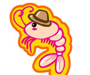 Shrimp wearing hat