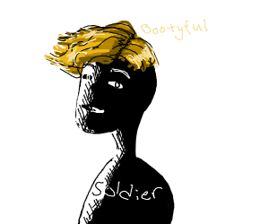Black soldier with blonde hair