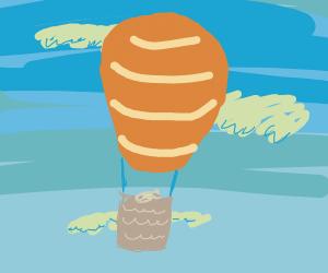 dehydrated fish rides a hot air balloon