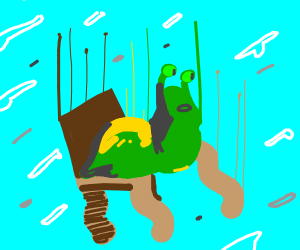 wiggly slug on a wiggly chair is falling