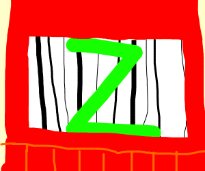 barcode with lime green ZED drawn on it.