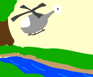 A Helicopter crossing a River
