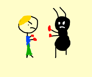 one punch man fighting a giant ant