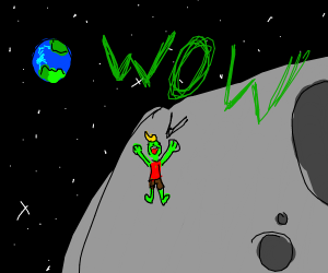 Green man on the moon says wow