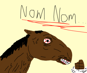 Horse eating chocolate