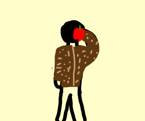 A guy with a fur coat eating an apple