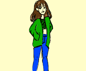Person wearing green
