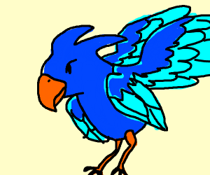 Blue bird with four wings