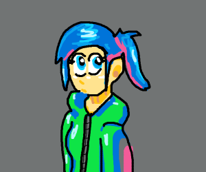 female w/ blue hair and green jacket.