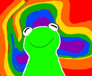 Kermit is high.