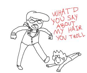 purple jojo man fights small green troll