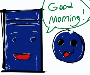 "Locker says ""good morning"" to blueberry"