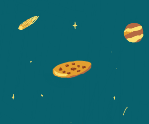 Chocolate Chips Cookie floating in space