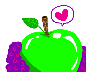 a green shiny apple with violet fluff (love)