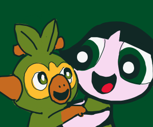 Grookey (Pokemon) hugging Buttercup (PPG)