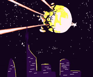 Lazers burning through the moon over a city