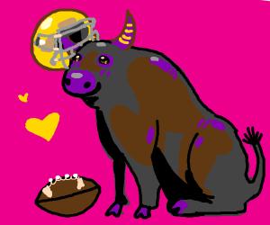 Bull with a football helmet on (very cute)