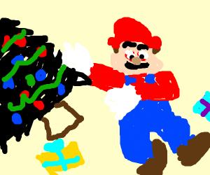 high mario throwing black christmas tree
