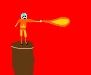 aang throws a fireball