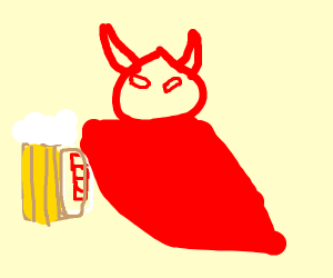 the divil drinking beer