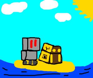 Robot on a island near a treasure chest