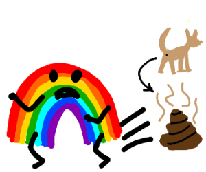 Rainbow man trying to avoid dog poop