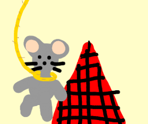 Mouse hangs itself on top of red pyramid