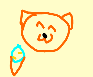 Orange cat with icecream cone