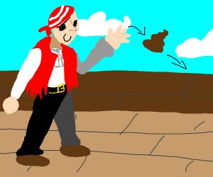 Pirate throwing poopoo away