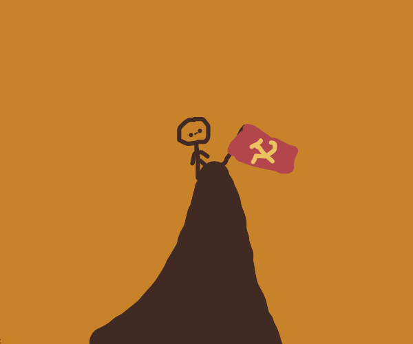 Communist Man climbs a mountain