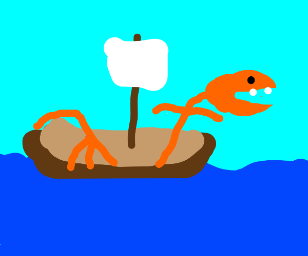 orange seamonster sits on sailing boat