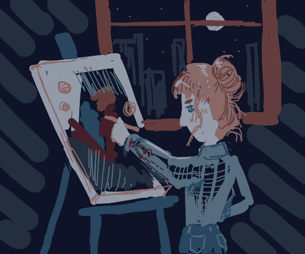 Girl paints at night