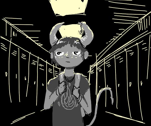 Grey demon highschooler