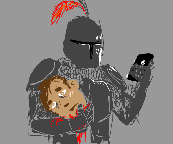 knight holds sad face and phone