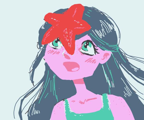 anime girl has starfish stuck on her head
