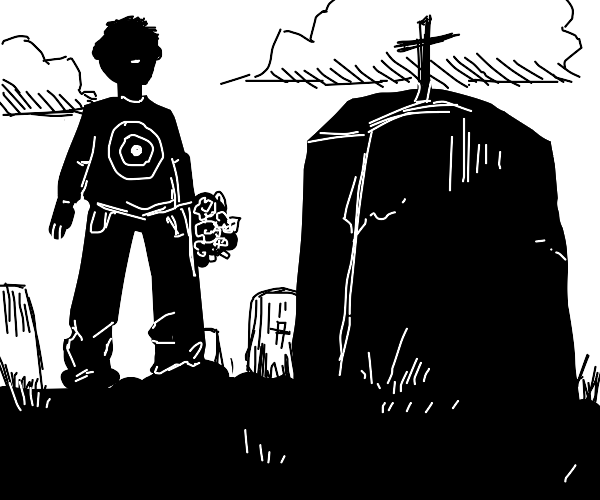 guy w/ target shirt pays respects at a grave