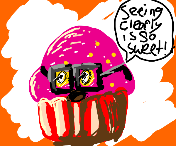 Sentient cupcake with glasses