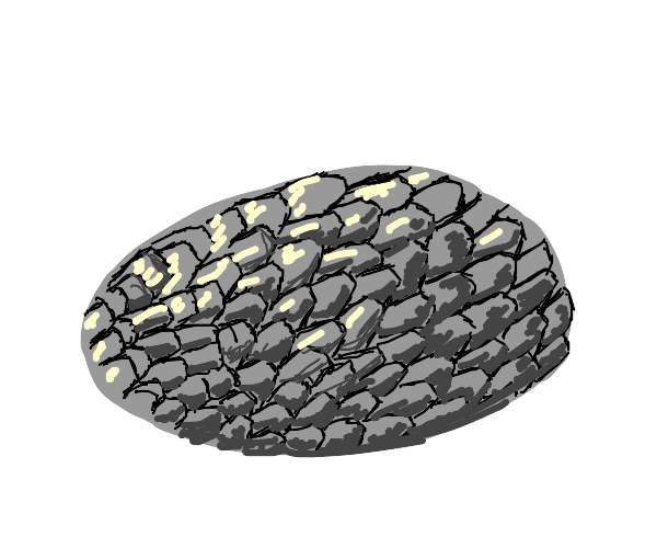 A dish shape filled with fish scales