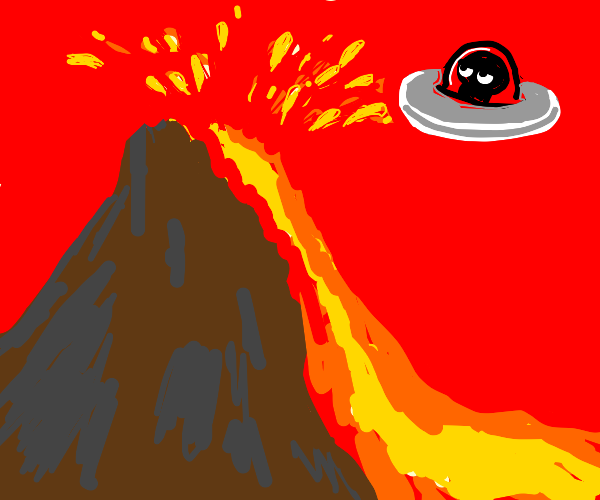 Space alien unamused by volcanic eruption