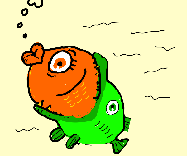 orange fish getting vored by a green fish