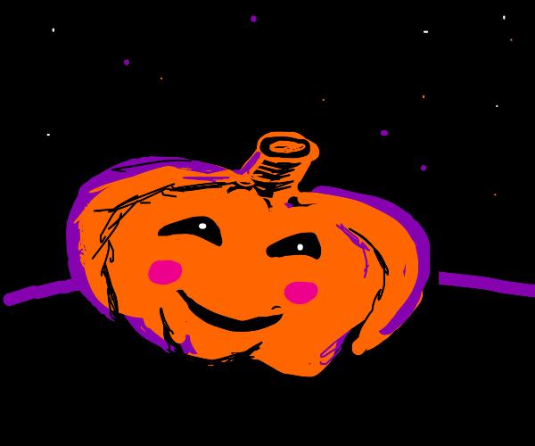 cute pumpkin under beautiful night sky