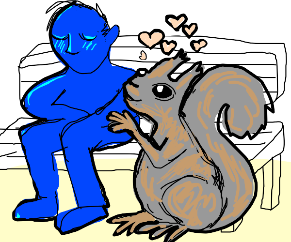 Big squirrel loves blue man
