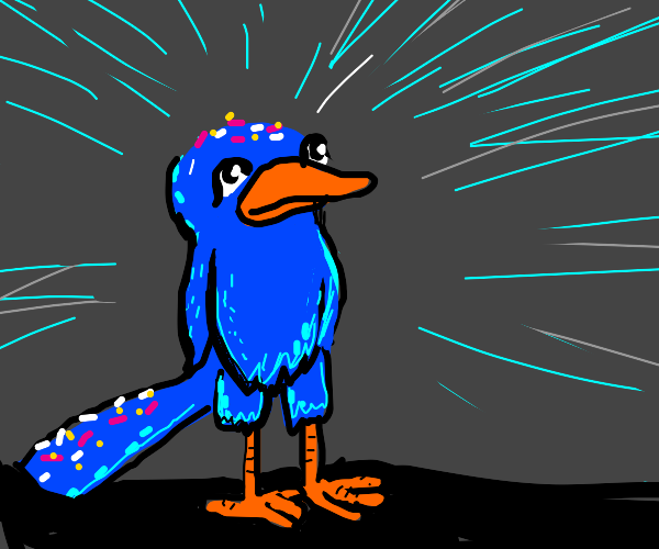 Shiny bird with sprinkles on it